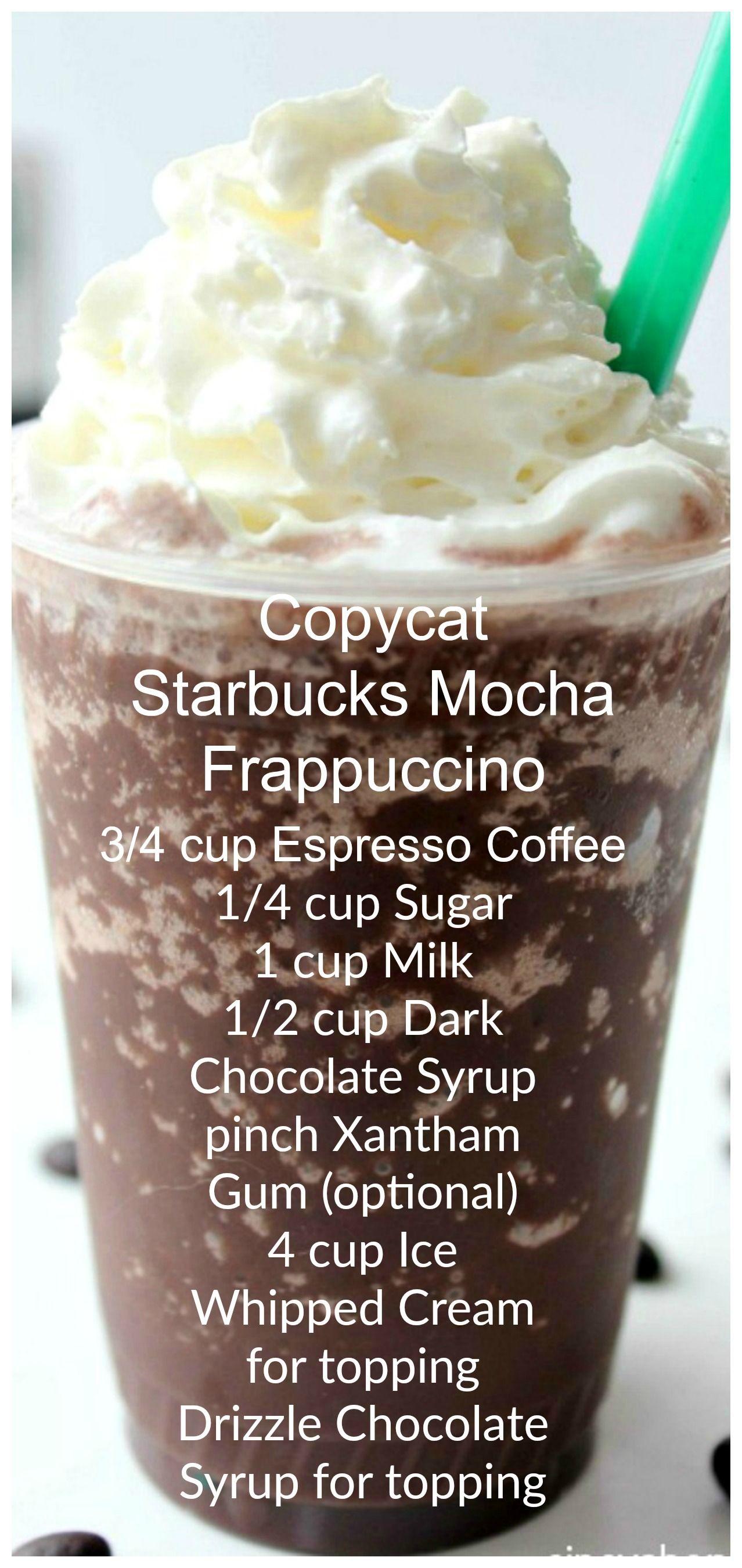 Copycat Starbucks Mocha Frappuccino Recipe Starbucks Drinks Recipes Starbucks Recipes Starbucks Frappuccino Recipe