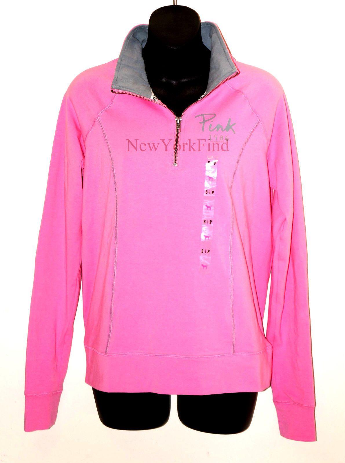Nwt Victoria's Secret Love Pink Jacket Half Zip Sweater Shirt Yoga ...