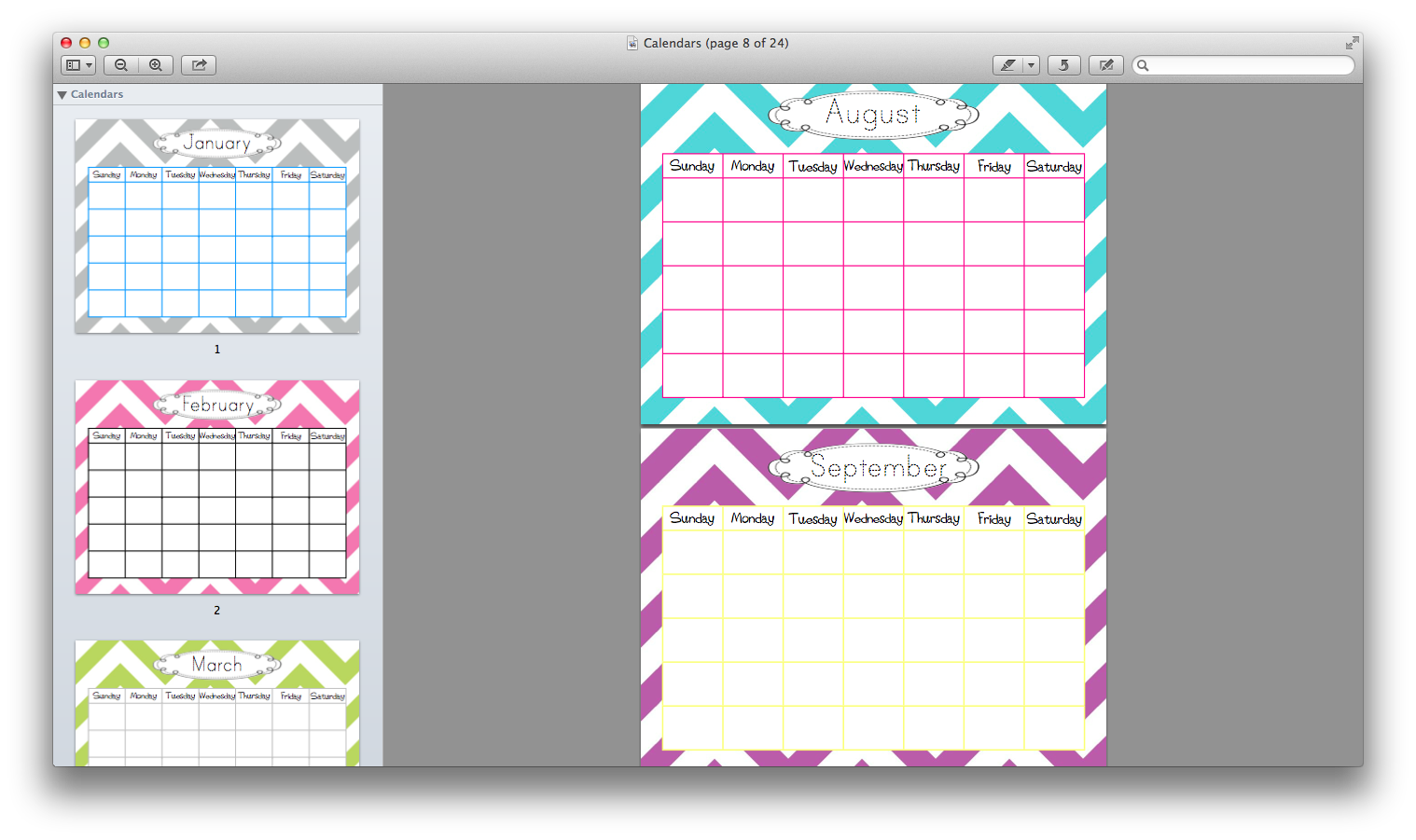 Cute Calendar Templates With Traceable Month Titles