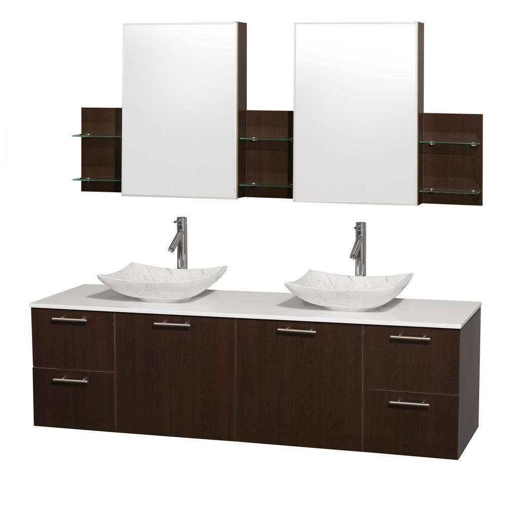 Wyndham Wcr410072deswsgs6med 72 In Double Bathroom Vanity In Espresso White Man Made Stone In 2021 Double Sink Bathroom Vanity Glass Countertops Oak Bathroom Vanity [ 1000 x 1000 Pixel ]