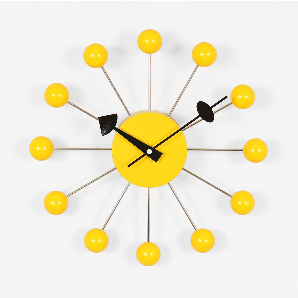 Mid Century Modern Reproduction Ball Clock Yellow Inspired By George Nelson Mid Century Modern Wall Clock Wall Clock Modern Nelson Ball Clock