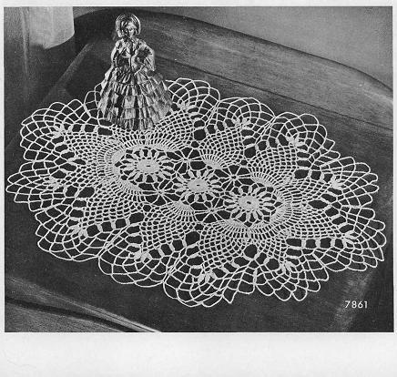 Crochet Oval Pineapple Doily Grandmothers Pattern Book Owalne