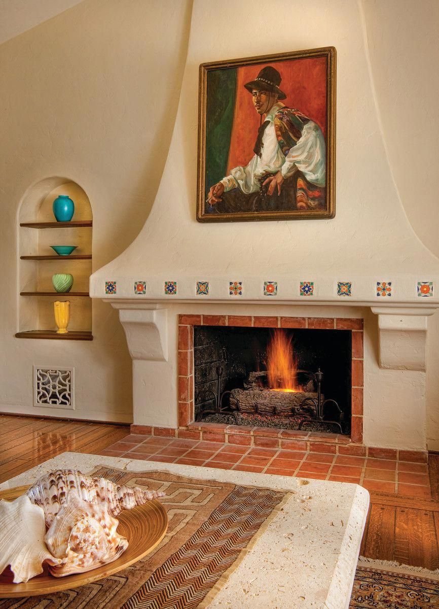 The Fireplace In The Living Room Is Studded With D M Tile The