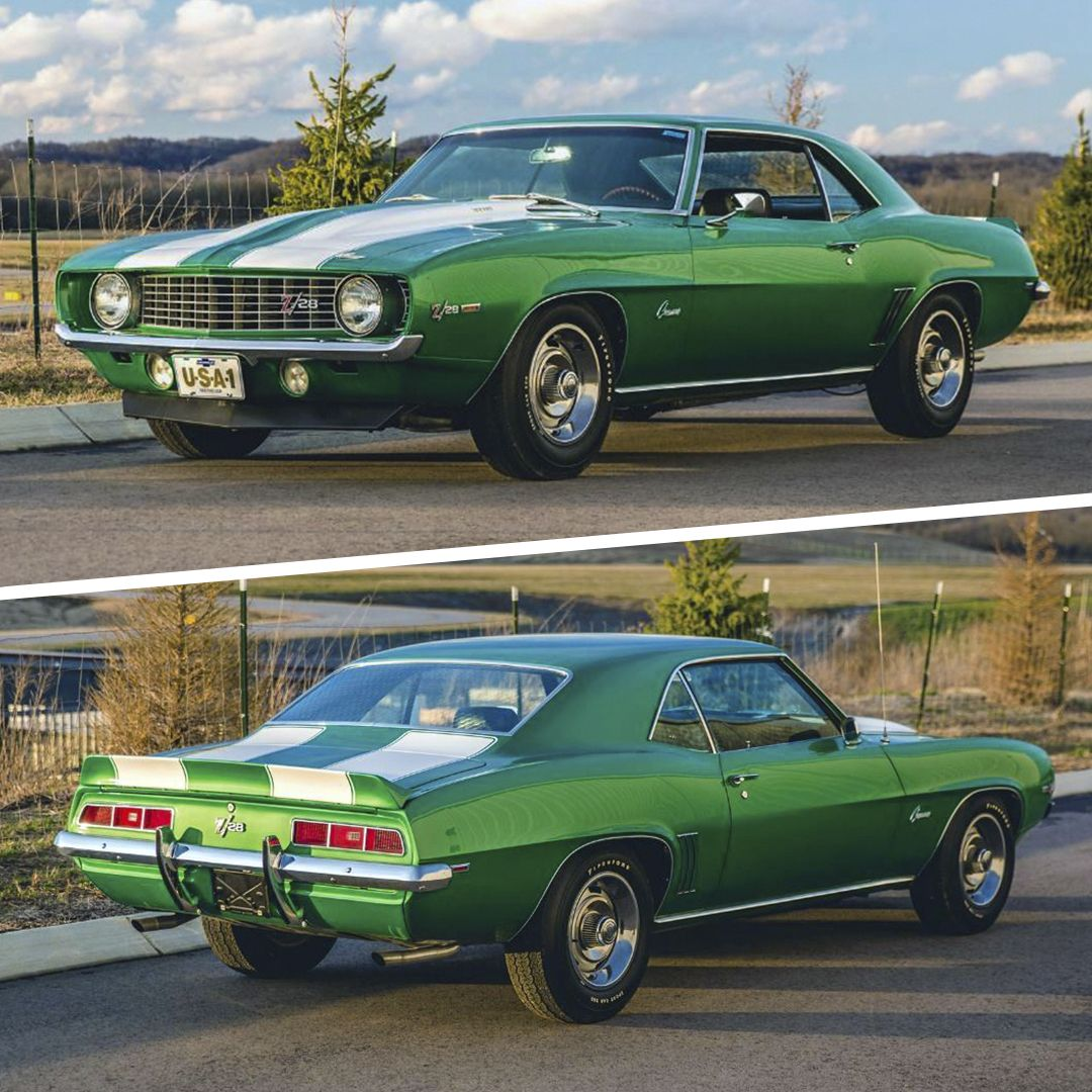 Las Vegas Auction Preview Looking Mean In Green This 1969 Chevrolet Camaro Z 28 Powered By A 302 290hp V8 Engine Chevrolet Camaro Muscle Cars Camaro Camaro