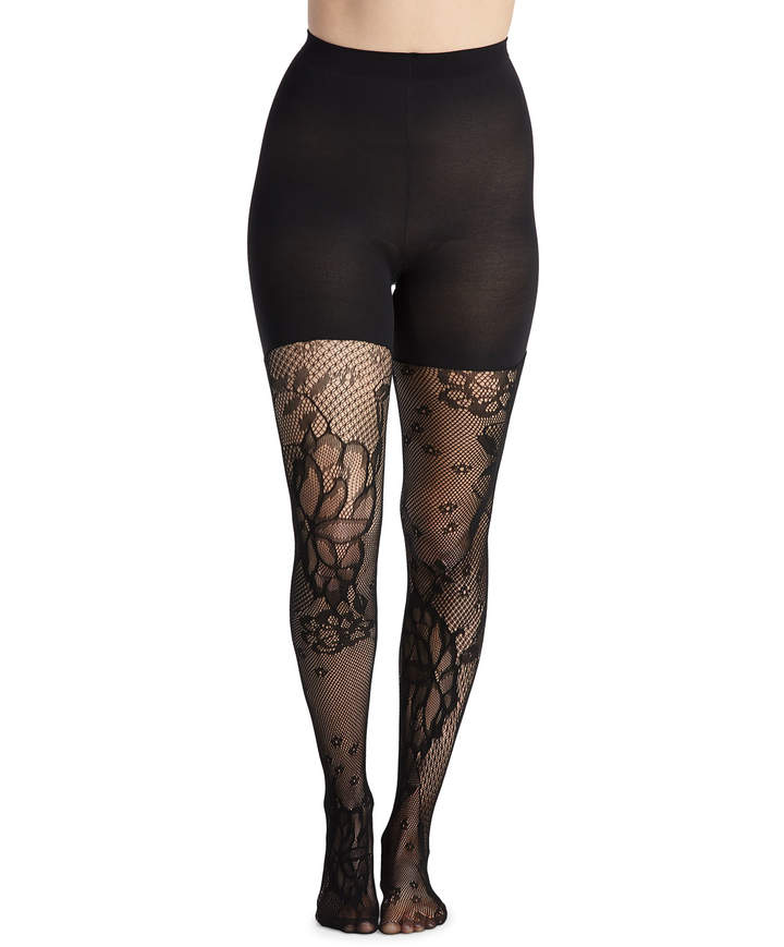 ca7dbee6a3702 Mid-Thigh Shaping Floral-Fishnet Tights in 2019 | Products | Fishnet ...