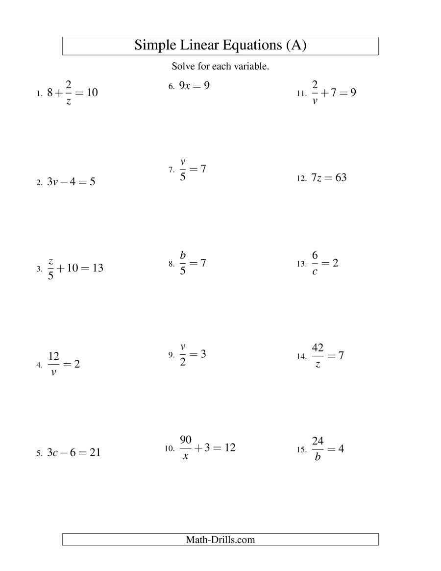 The Solving Linear Equations Form Ax B C Variations A Math Worksheet From The Algebra Works Solving Linear Equations Linear Equations Algebra Formulas [ 1165 x 900 Pixel ]