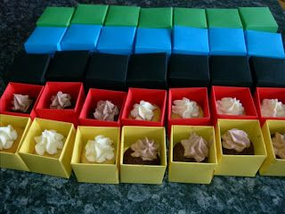 Hero coloured mini cupcake boxes - party favours, bag fillers My Guide To Home Made: Superhero Party: The Food