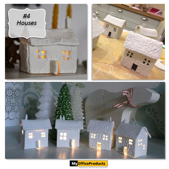 Mini Houses created with Air Dry Clay! What could be more charming than these mini houses to decorate your table this year? The texture for these houses was created by placing the clay over an old lace doily and pressed with a rolling pin. Instructions for these homes is located by clicking on this link {http://myopblog.com/2015/10/01/12-beautiful-projects-to-make-with-air-dry-clay/}