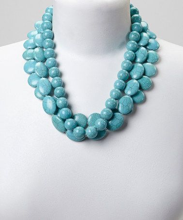 Another great find on #zulily! Turquoise Multi-Strand Bead Necklace #zulilyfinds