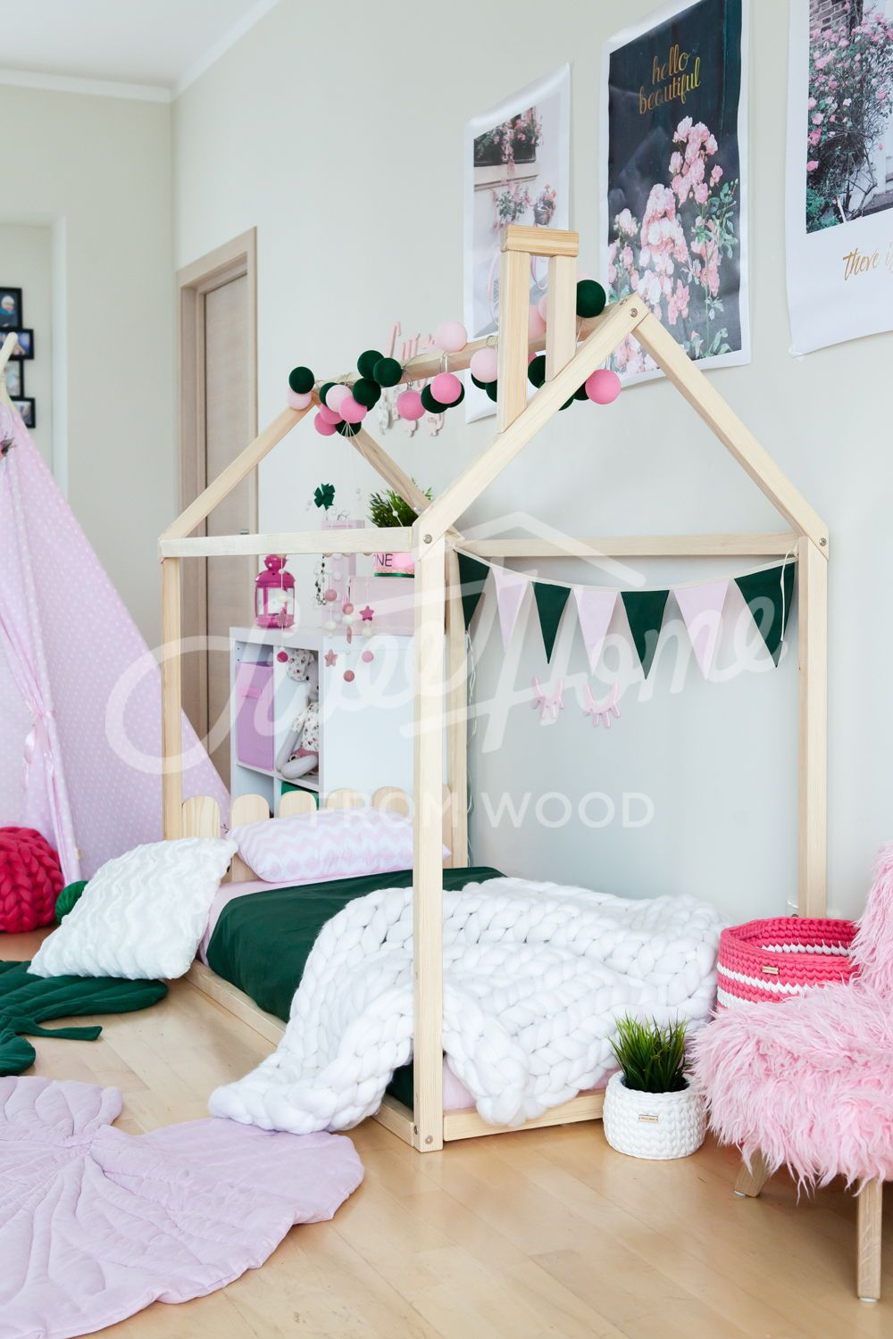 Toddler House Bed With Slats Montessori Floor Bed Kid Bed Wood