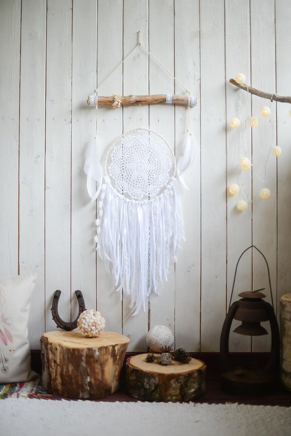 White Dreamcatcher Wall Hanging Boho Bedroom Decor Dream Catcher Bohemian Wedding Dreamcatcher Boho Bedroom Decor Dream Catcher White Bohemian Baby Shower