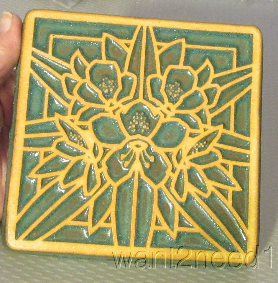 Detroit Art Pottery PEWABIC CLEMATIS FLOWER TILE 5.5