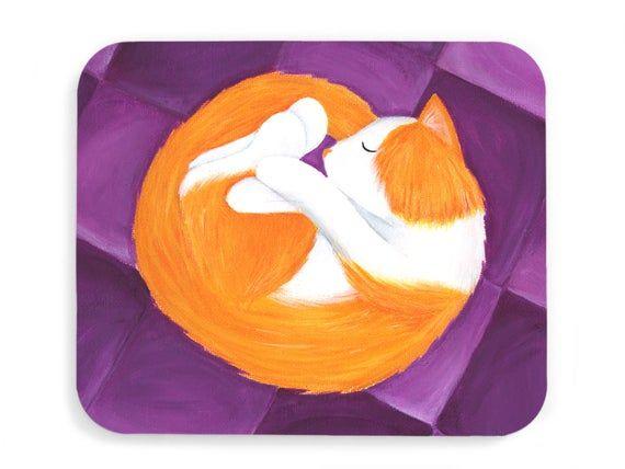 Sleepy Kitty Mouse Pad - Curled-Up Orange Tabby Cat Mousepad - Cat Office Decor