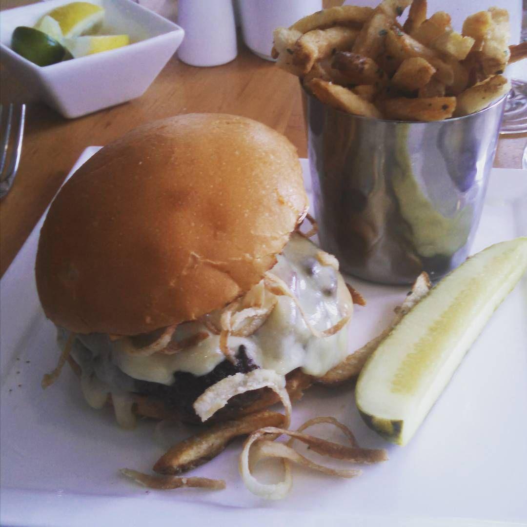 Yum!!!!! #foodporn #foodie #burger #frenchfries #pickle #sodawater #fancy #lime #lemon #clubsoda