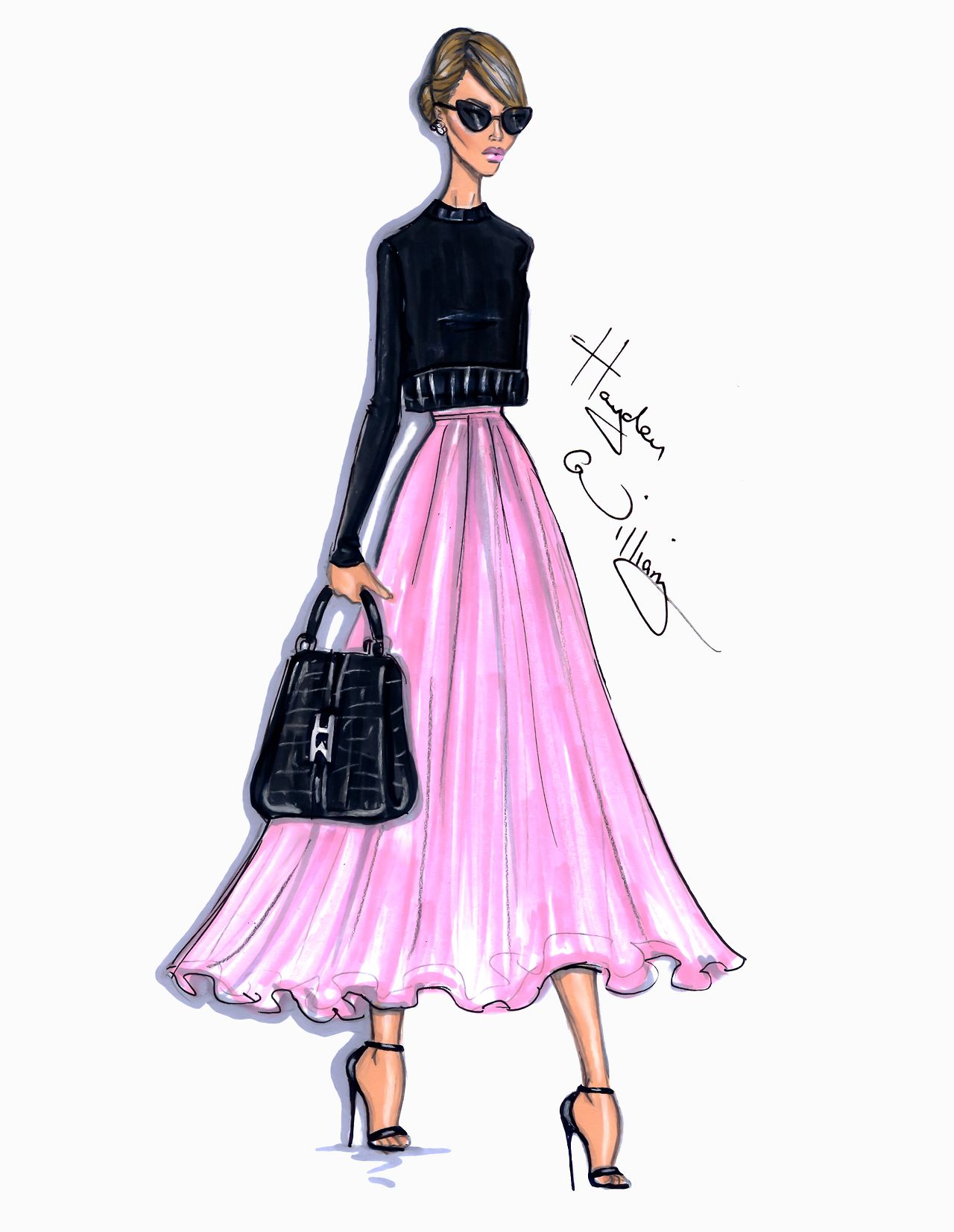 Pink dress illustration  Style On The Go Jessica Alba by Hayden Williams hayden williams