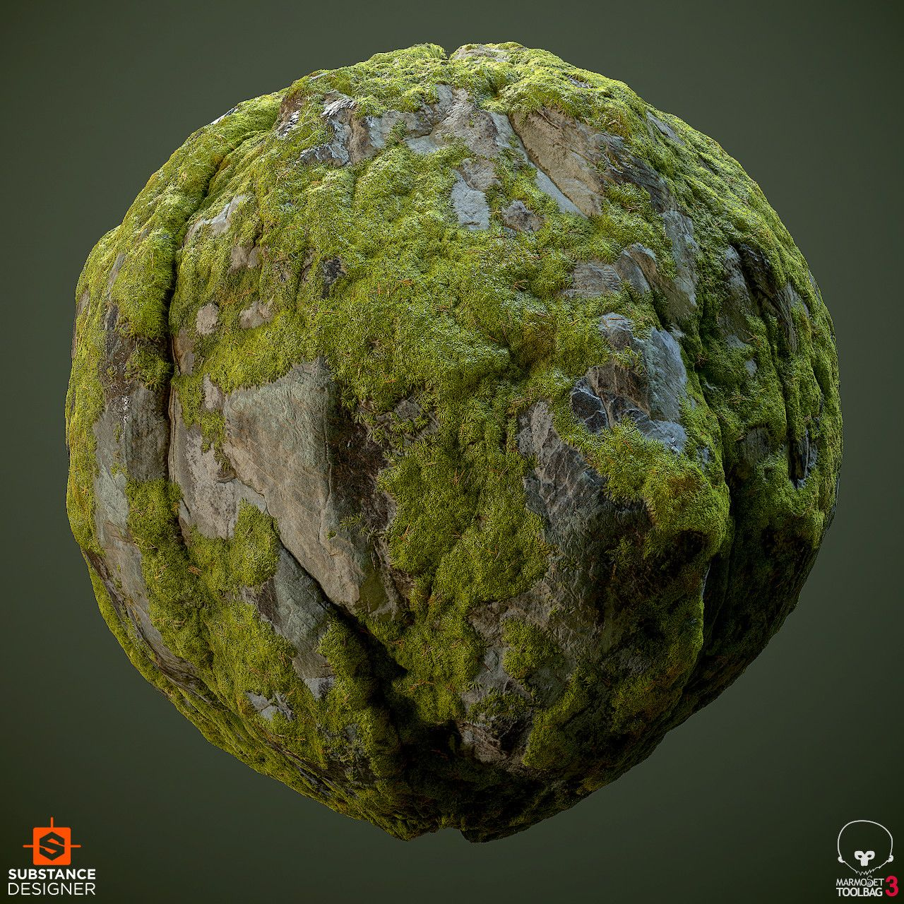 Material Study Of A A Mossy Granite Cliff 100 Substance