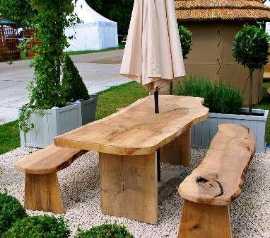 Table Cèdre Massif Jardin En Bois Et Deux Bancs | Projets à ...