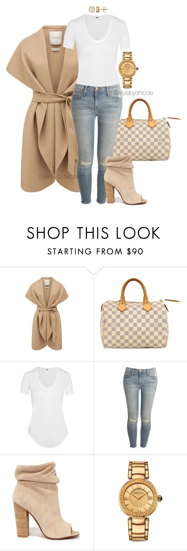"""""""Untitled #3226"""" by stylebydnicole ❤ liked on Polyvore featuring Forever New, Louis Vuitton, Helmut Lang, Current/Elliott, Kristin Cavallari and Versace"""