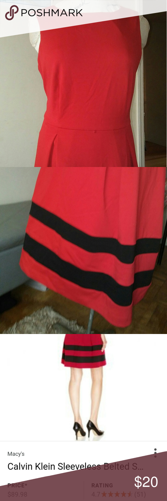 Dress calvin klein dress red black and customer support