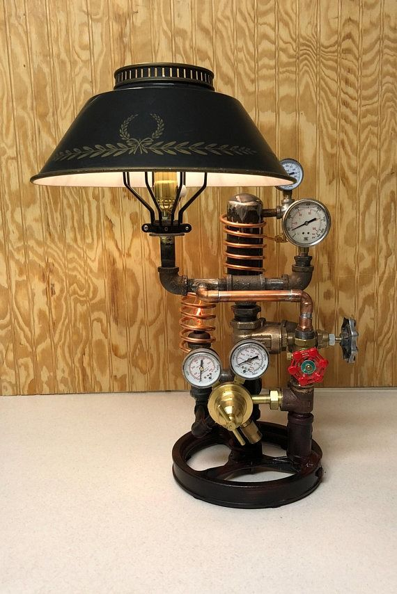 Restoration Hardware Style Repurposed Steampunk Table Lamp by... #restorationhardware