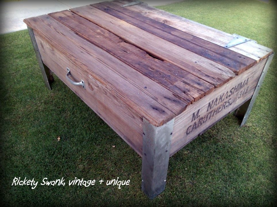 Coffee Table Made From A Large Vintage Fruit Crate Avail At Rickety Swank 175 Diy