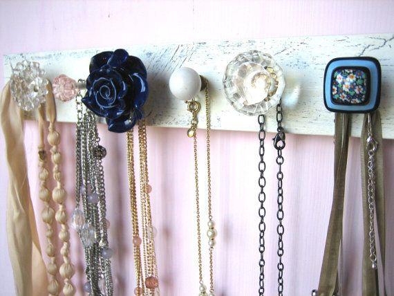 Dorm Room Jewelry Rack with Navy Flower Knob Door knobs Coat