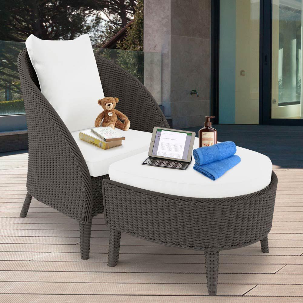 Buy Redoda PE Wicker Outdoor Chair Stool Set - Ash Online Australia - Redoda PE Wicker Outdoor Chair Stool Set - Ash