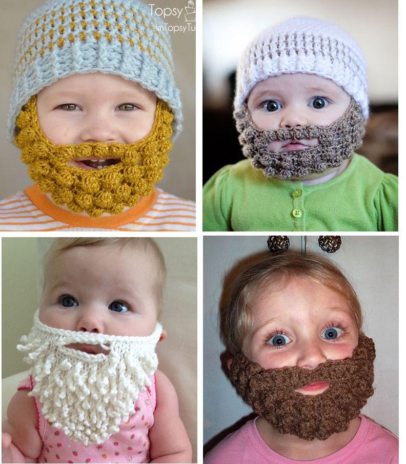 Knitted Beards on Babies | Crocheted beard pattern ...
