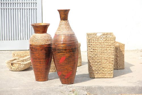 Vietnam Spun Bamboo Floor Vases With Water Hycinth Bamboo