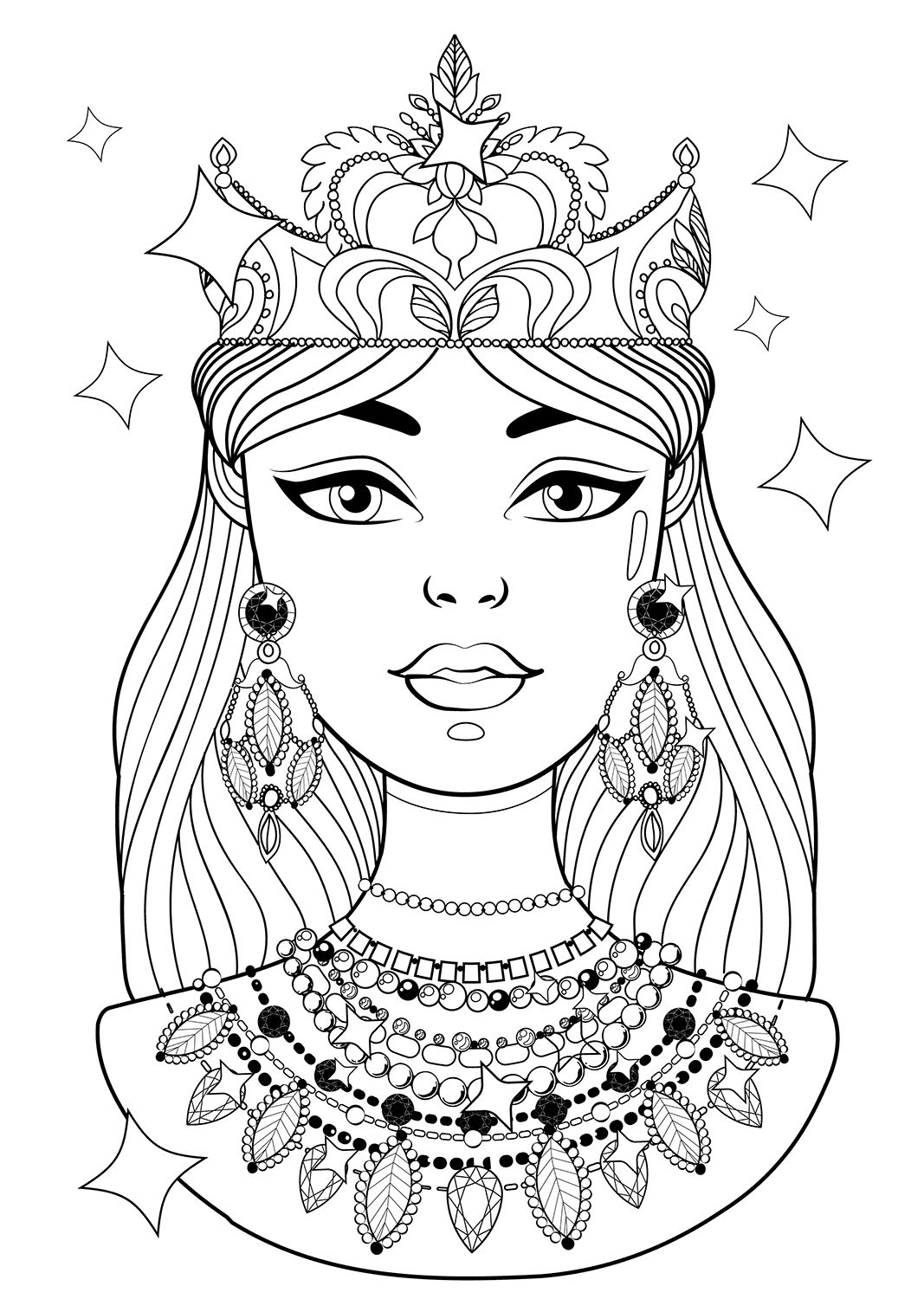 Shining Princess With Necklaces Coloring Pages Coloring Pages Princess Coloring Pages Coloring Pages For Kids