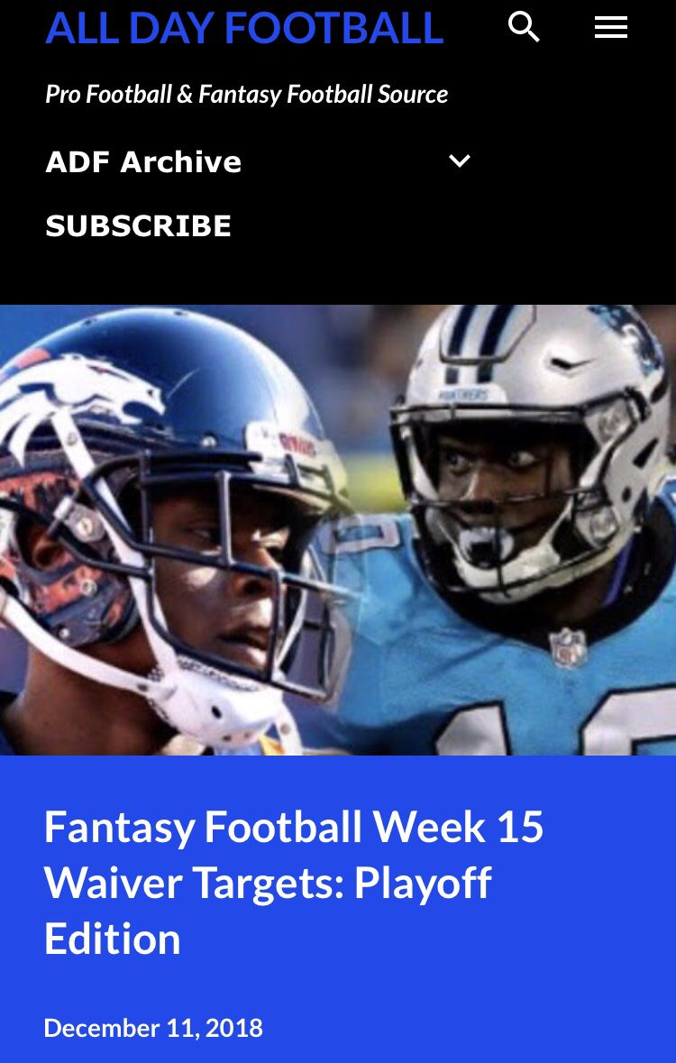 Just Released Ff Week 15 Waiver Targets Playoff Edition Allday