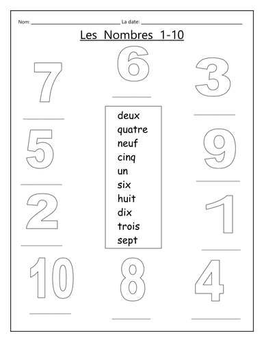 a simple work sheet for introducing the numbers 1 10 francais french worksheets learning. Black Bedroom Furniture Sets. Home Design Ideas