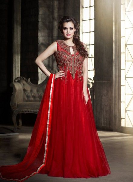 8597d88482 Red Diya Mirza indian designer gown for party wear C16230C https   www.