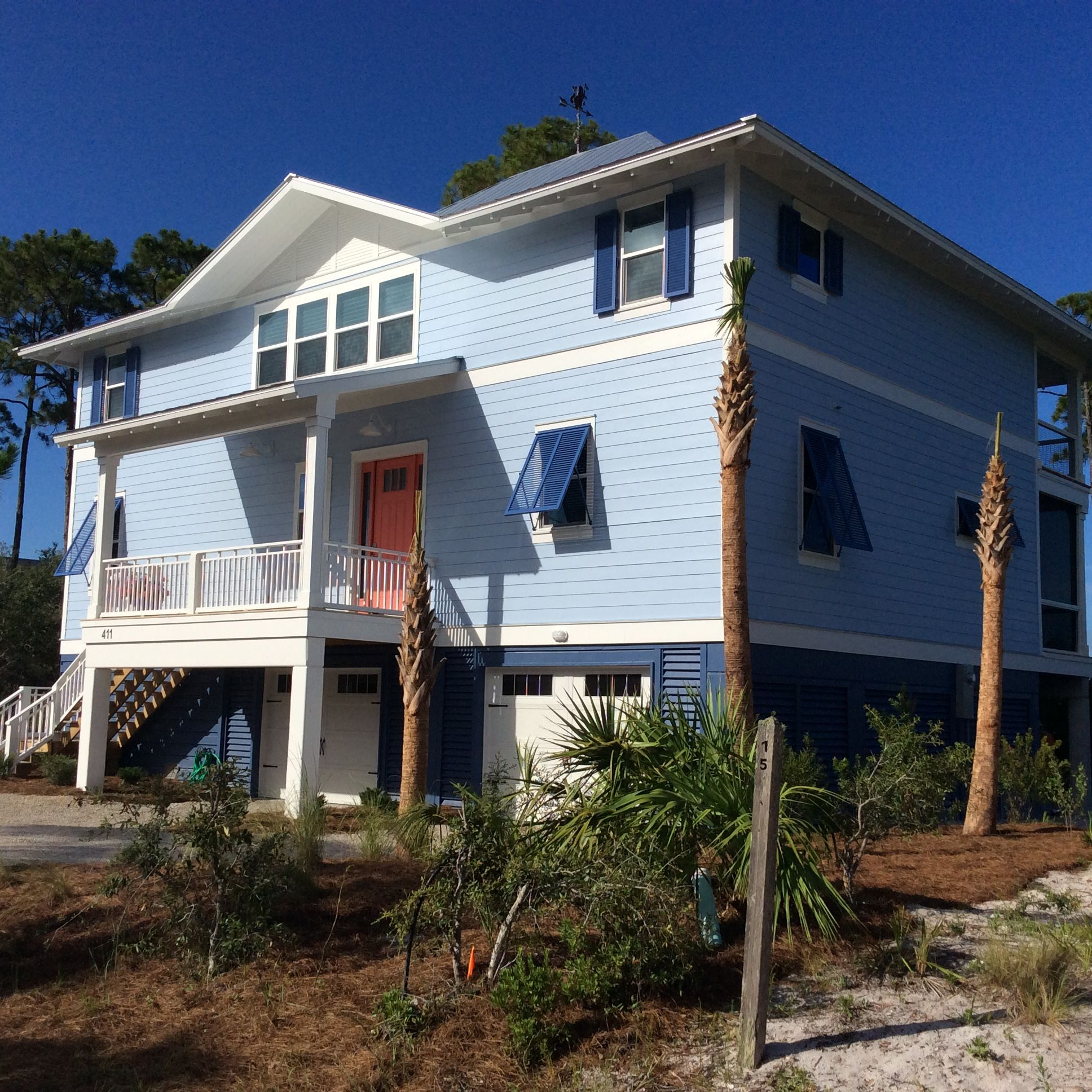 SW Blissful Blue - top two floors, Denim - ground level, Front door -  Coral Reef