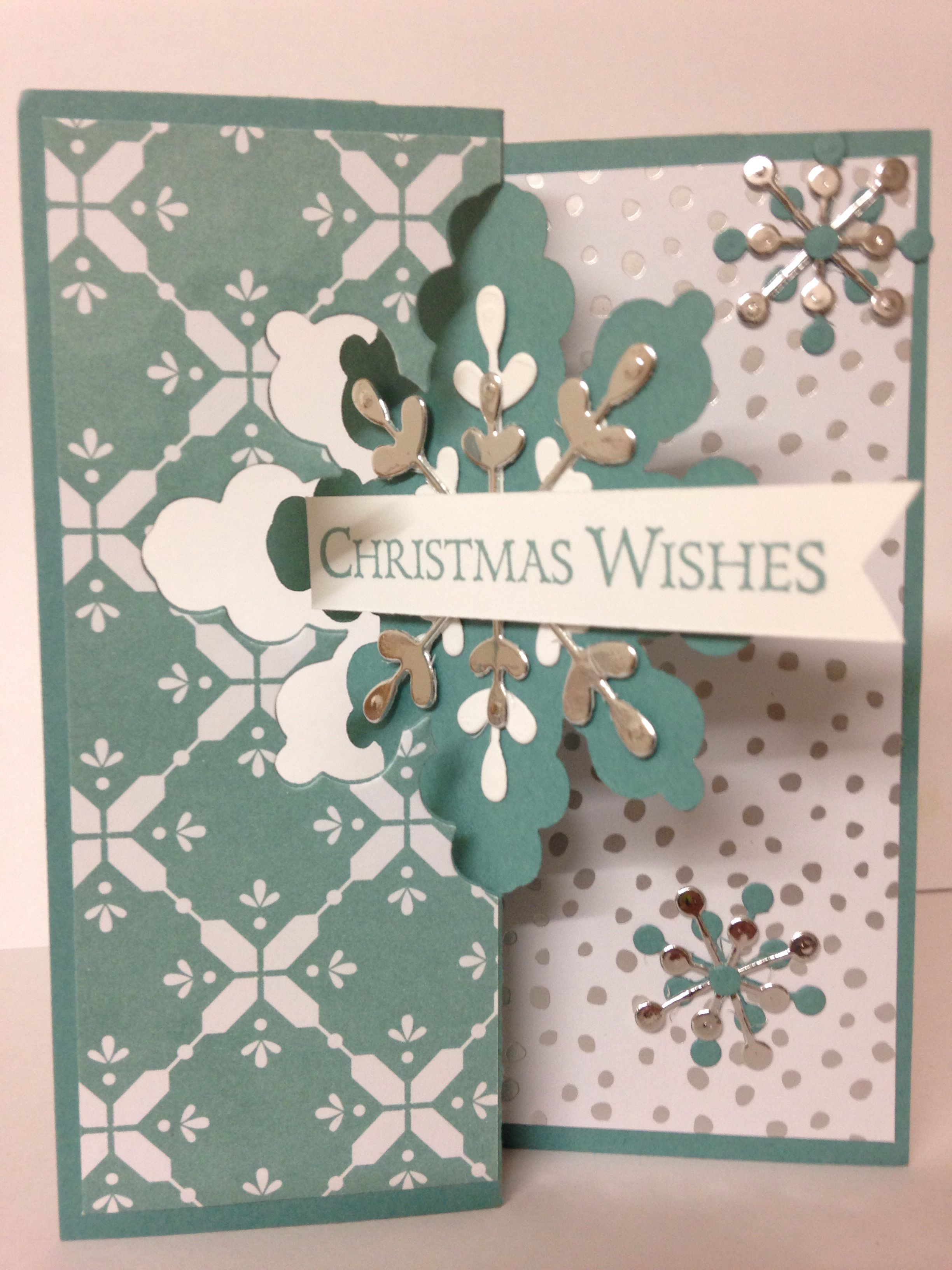 Stampin Up - Snowflake Card thinlits dies with all is calm DSP