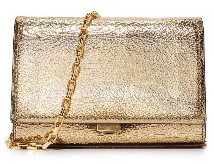 71f9a155ff69 Michael Kors Collection Yasmeen Crackle Clutch Metallic Clutches