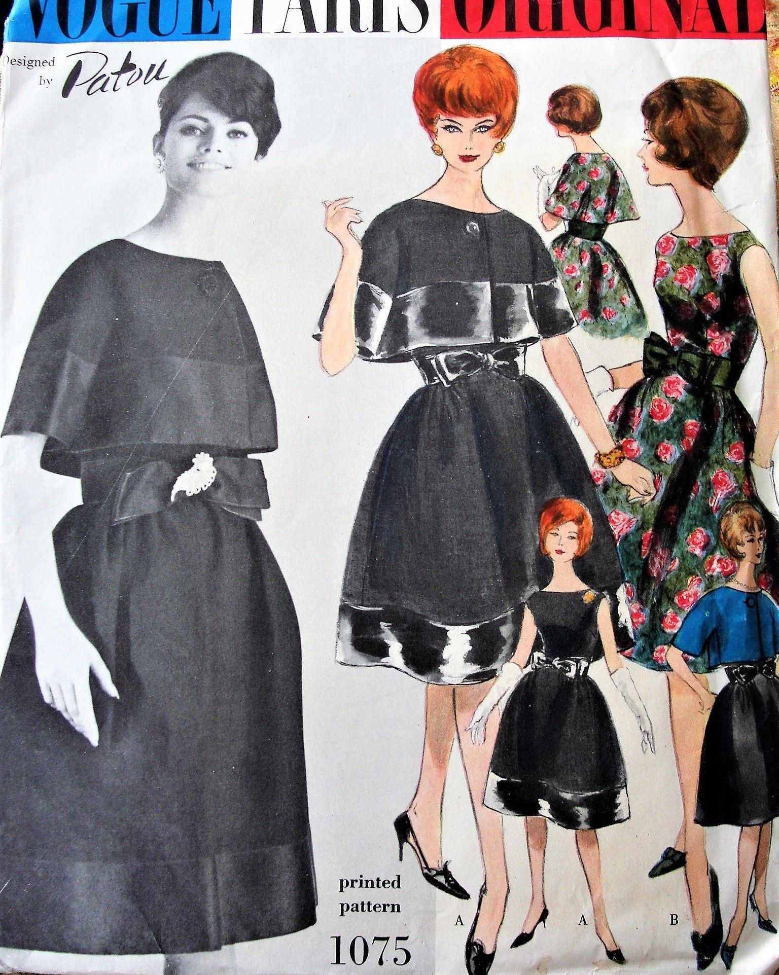 1960s Beautiful Patou Evening Cocktail Party Dress And Bolero Jacket Pattern Vogue Paris Ori Vintage Party Dresses Vintage Dresses 1960s Vintage Dresses Casual [ 1923 x 1536 Pixel ]