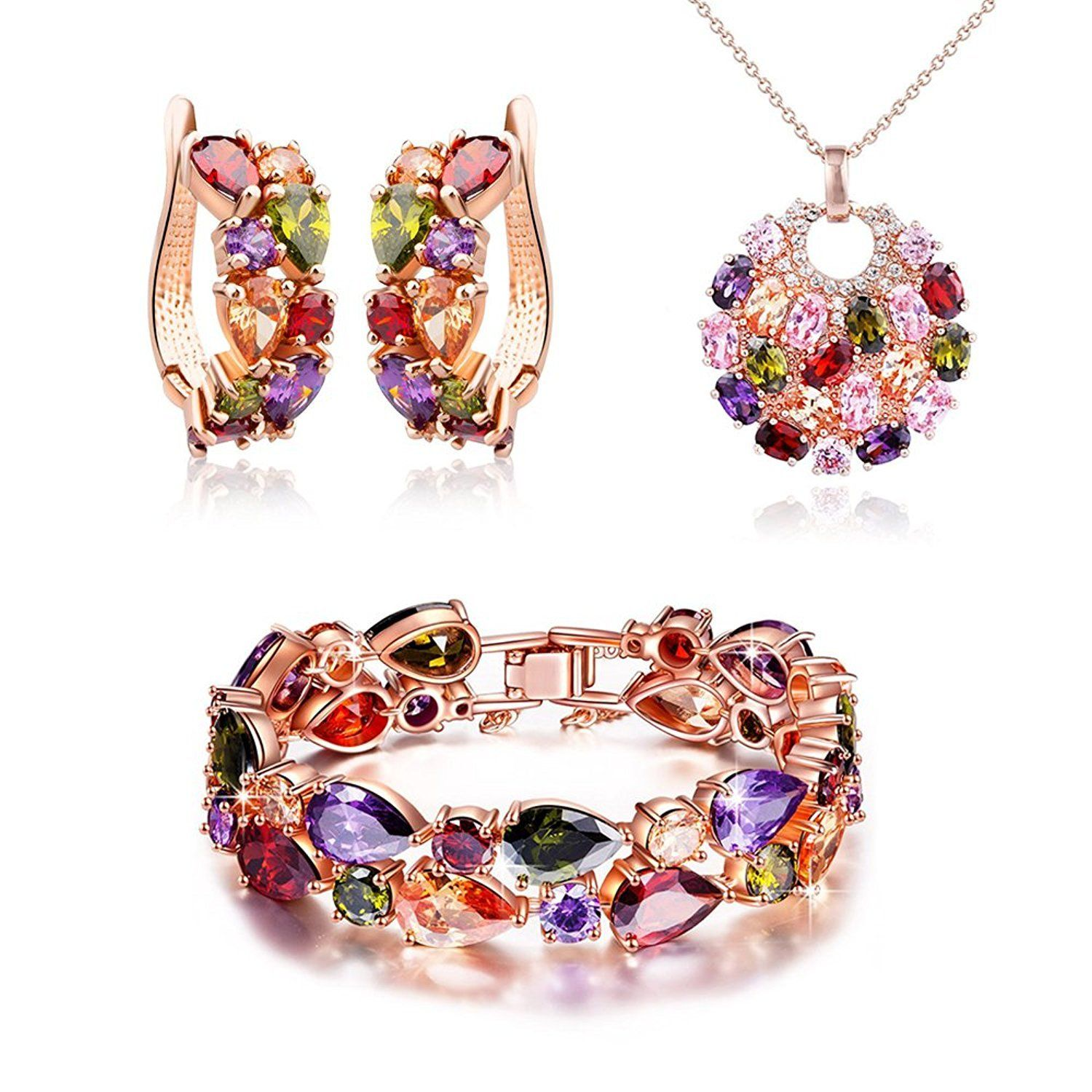 Heart multicolor zircon pendant necklace bracelet earrings jewelry