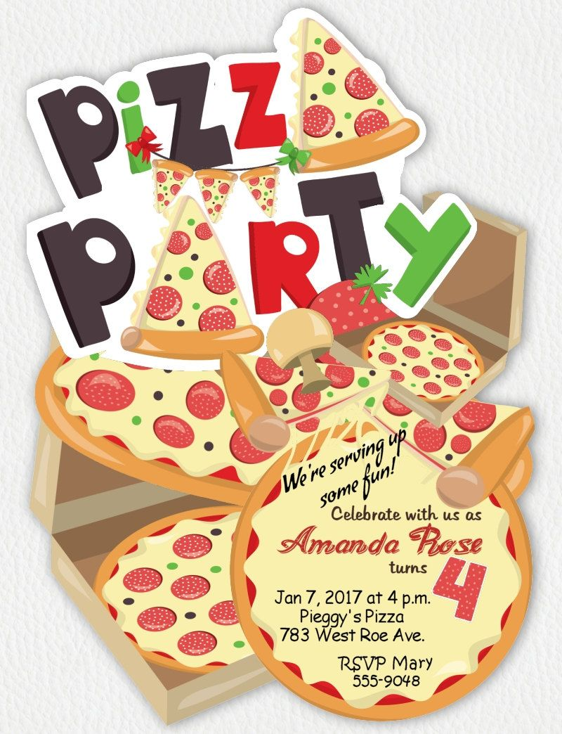 pizza party invitations pizza die cut invitation pizza party
