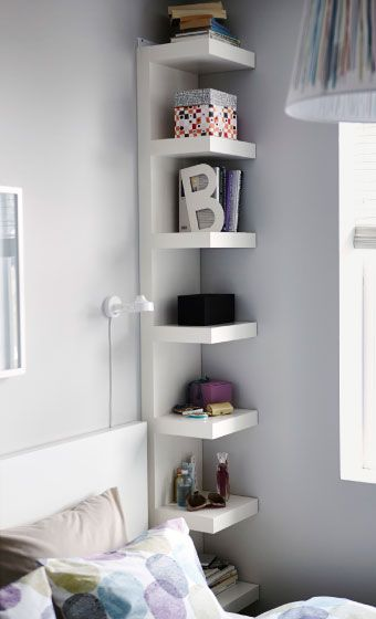 Tall LACK wall shelf used as bedside table | bedroom
