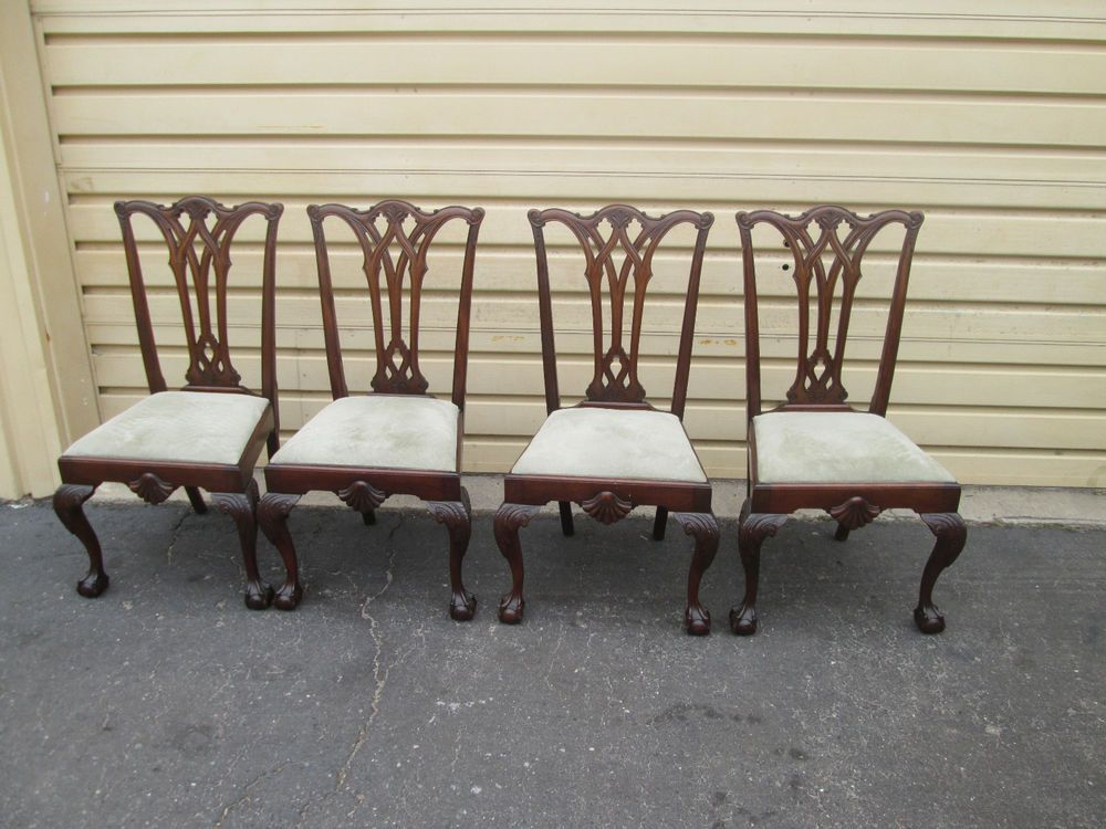 56877 Set Of 4 Antique Mahogany Dining Room Chairs Chair S Adorable Chippendale Dining Room Set Design Decoration