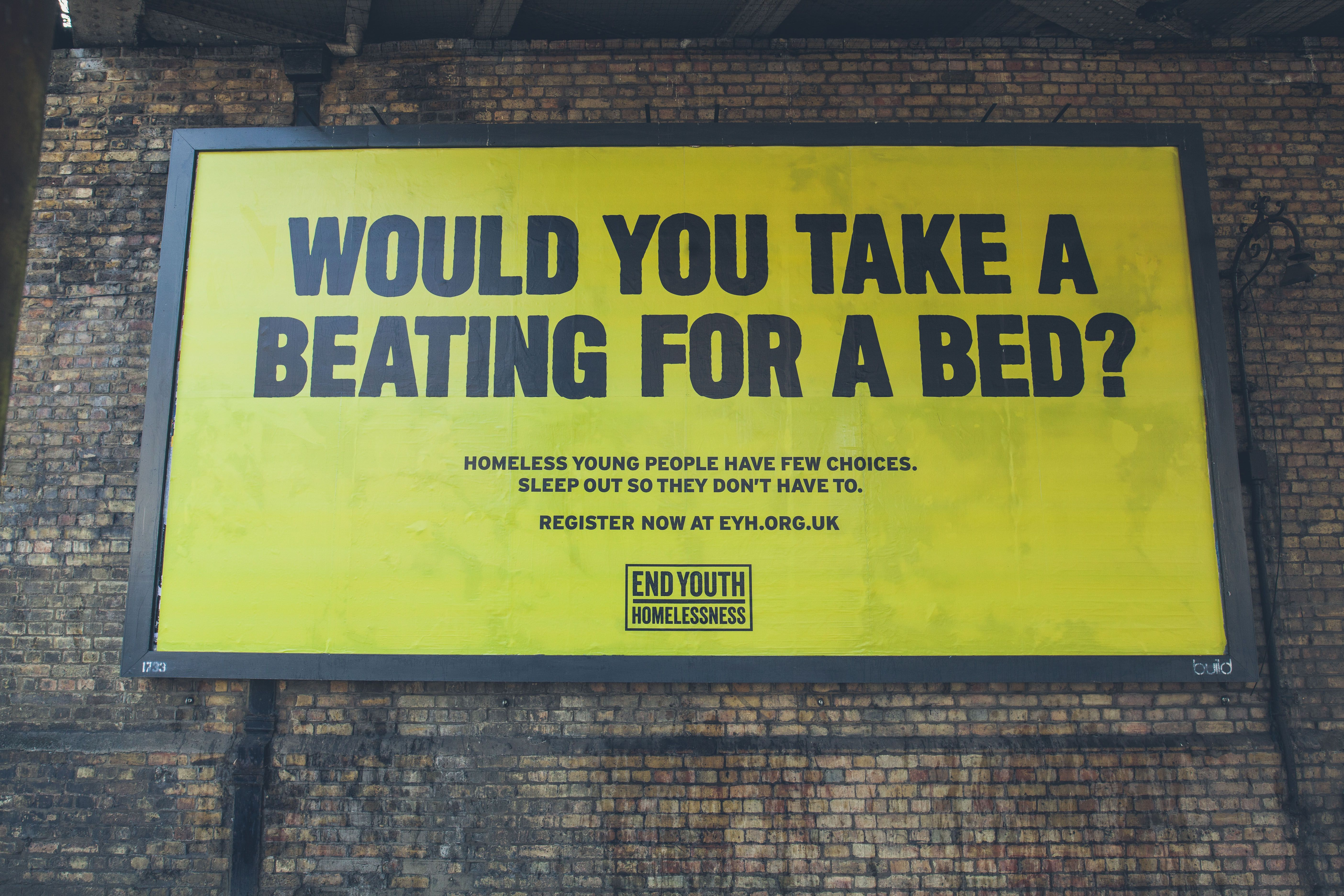Swap Your Bed For A Sleeping Bag And Sleep Out Wcrs Best Ads Issues In Society Social Change