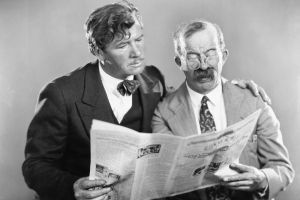 Old men and newspaper