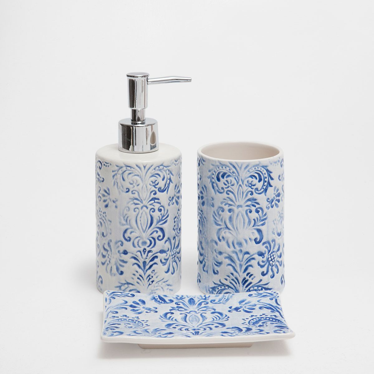 Blue Fleur De Lis Ceramic Bathroom Set Blue Bathroom Accessories