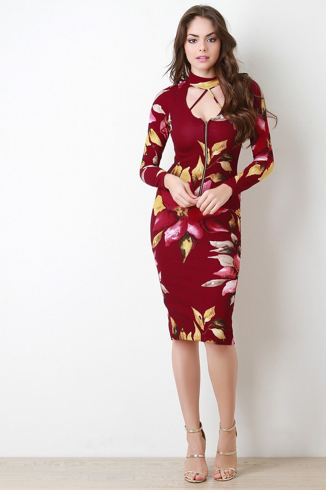Floral choker zip up bodycon dress products pinterest products