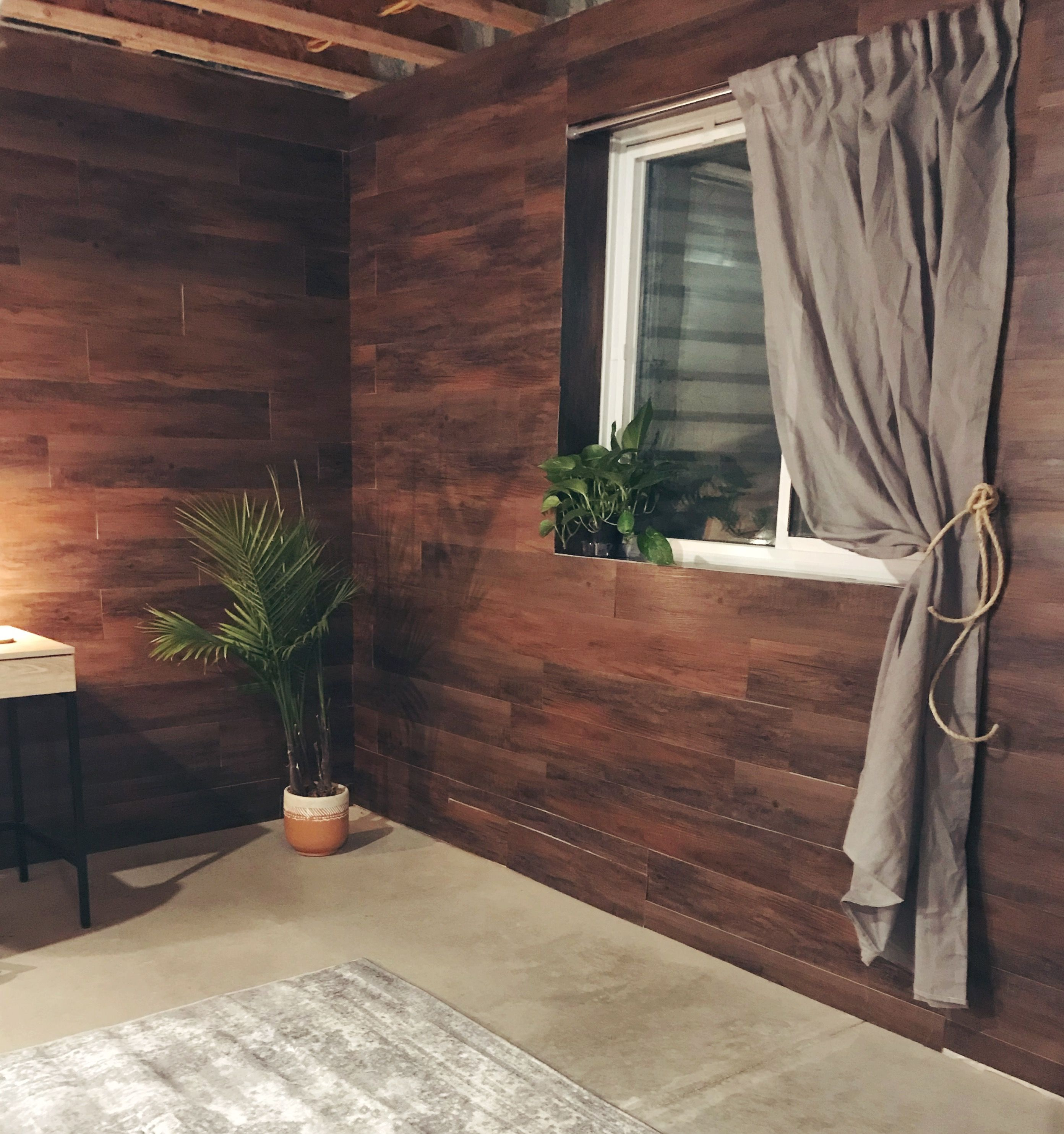 DIY Basement Wall, Easy Wall Cover, Peel And Stick Floor Tile On Walls,