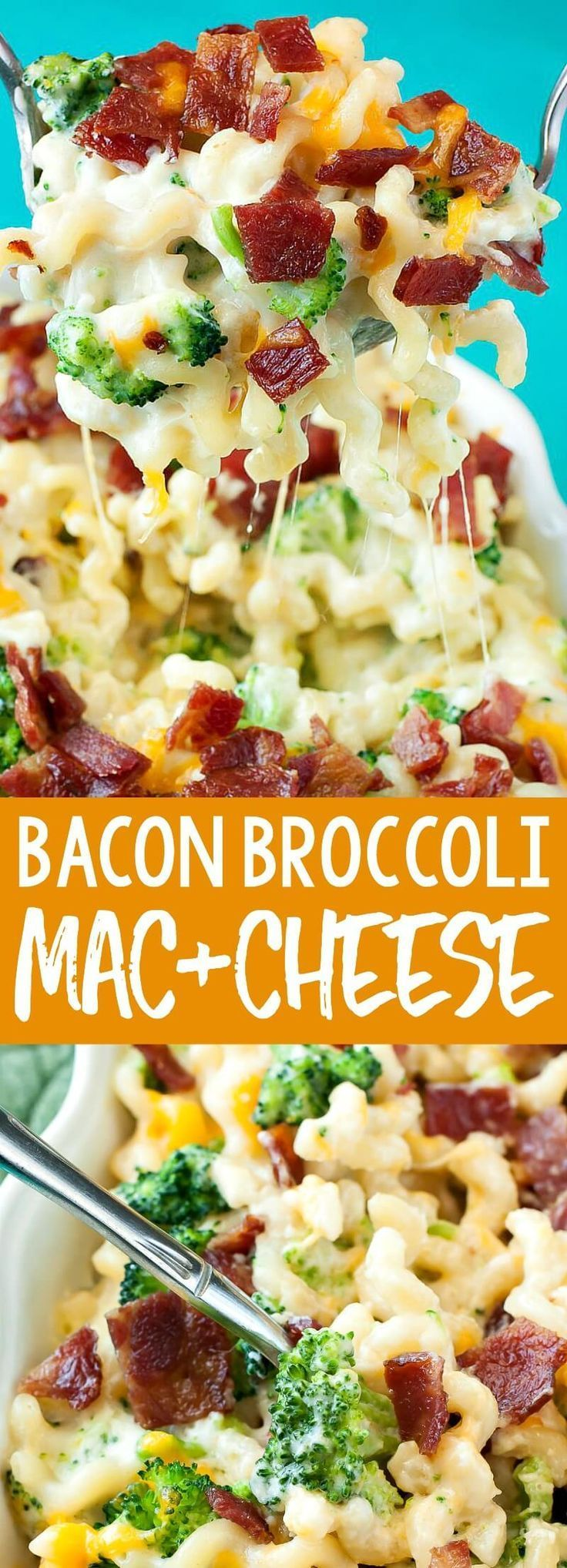 Bacon Broccoli Mac and Cheese Bacon broccoli mac and cheese loaded with gorgeous green broccoli and topped with crispy bacon... this cheesy comfort food is ready to rock your face off! My family goes nuts over this easy cheesy casserole!