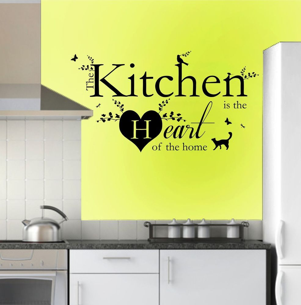 Kitchen Is The Heart Of The Home Quote, Vinyl Wall Art Stickers ...