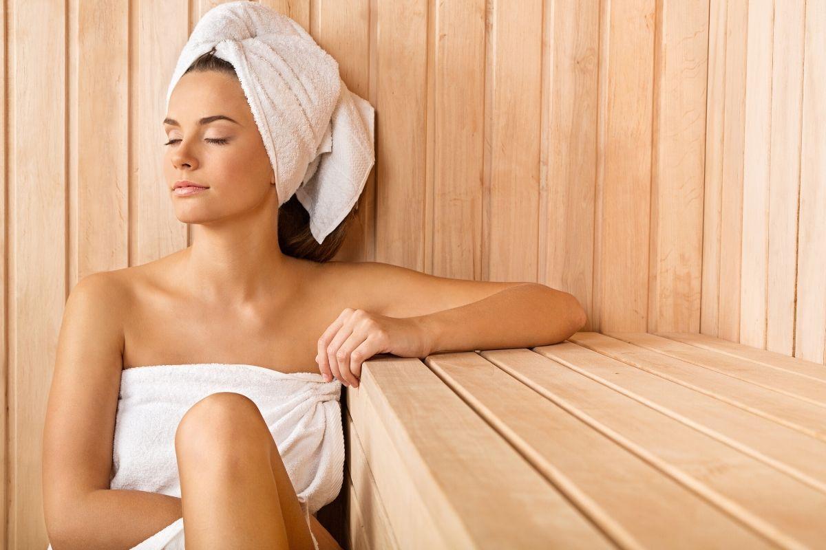 woman relaxing in a sauna