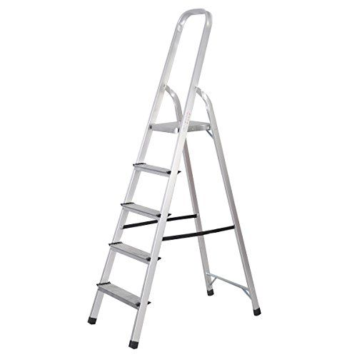Goplus Foldable 5 Step Ladder Aluminum 6 Foot Platform Ladder Non Slip 330 Lbs Capacity Review Step Ladders Ladder 5 Step Ladder